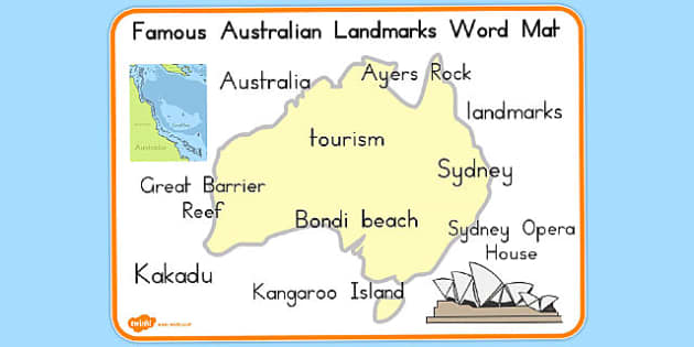 Famous Australian Landmarks Word Mat - australia, landmarks