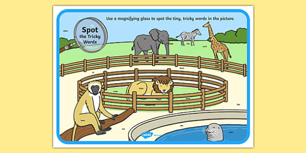 Phase 4 Tricky Words Zoo Scene Magnifying Glass Activity Sheet, worksheet