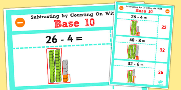Year 2 Subtraction by Counting On Using Base 10 Display Poster