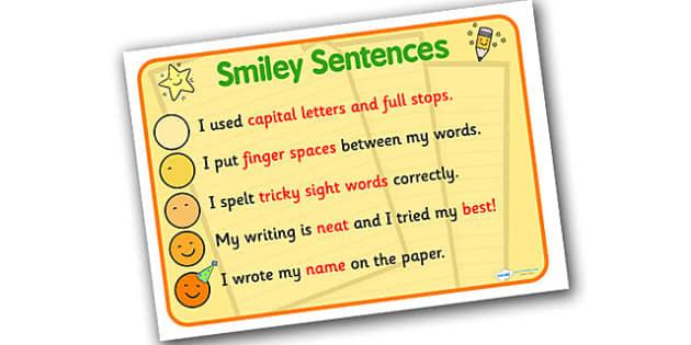 Great Sentences Display Poster - great sentences poster, smiley sentences poster, how to write great sentences, super sentences prompt poster, literacy