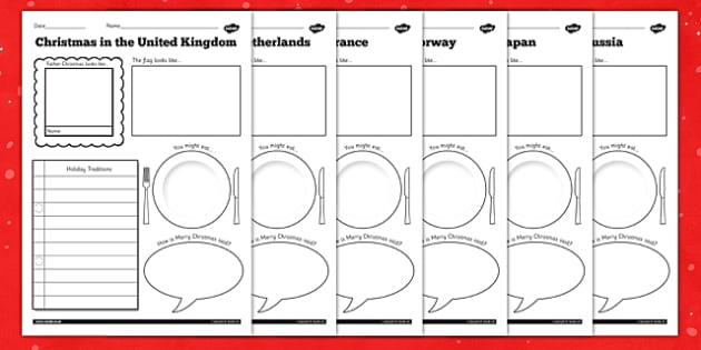 Father Christmas Around the World Writing Frames - writing, frame