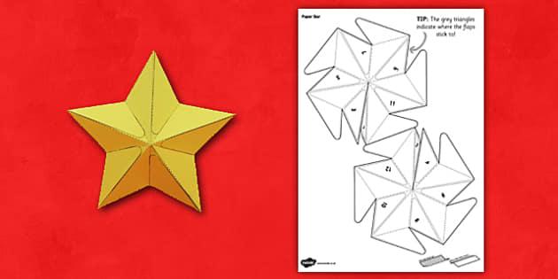 3D Star Paper Model - 3d, paper, star, craft, activity, paper model