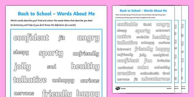 Back to School Words About Me Activity Sheet-Scottish, worksheet