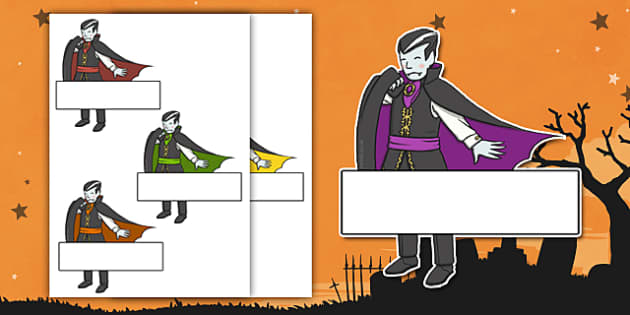 Editable Halloween Vampires Self Registration - Halloween, pumpkin, witch, bat, scary, black cat, Self registration, register, editable, labels, registration, child name label, printable labels, mummy, grave stone, cauldron, broomstick, haunted house