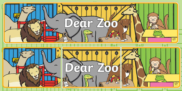 Display Banner to Support Teaching on Dear Zoo - Dear Zoo, Rod Campbell story, zoo, zoo animals, adjectives, descriptive words, lion, monkey, puppy, giraffe, story book, story book resources, story sequencing, story resources, zoo, animals, banner, d