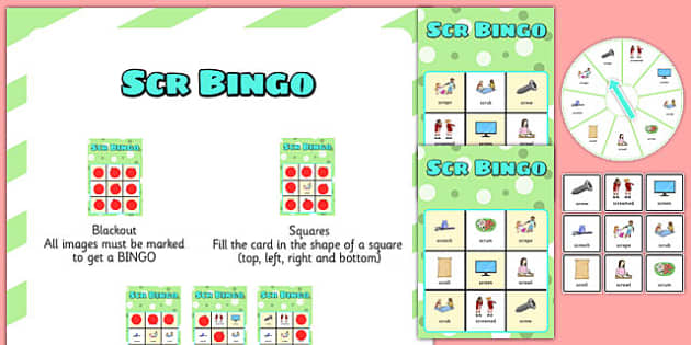 SCR Spinner Bingo - speech sounds, phonology, articulation, speech therapy, cluster reduction, complex clusters, three element clusters