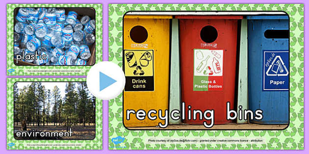 Recycling Photo PowerPoint - visual displays, photos, visual, aid