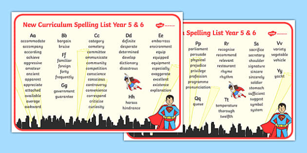 Superhero Themed Spelling List Years 5 and 6 - superhero, spelling list, spelling, spell, year 5, year 6, ks2, uks2, juniors, aid, spell,