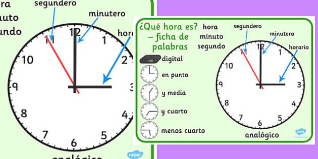 Tapiz de vocabulario El reloj analógico - lectura de la hora, reloj, analógico, vocabulario