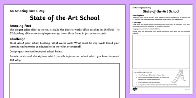 State-of-the-Art School Activity Sheet, worksheet