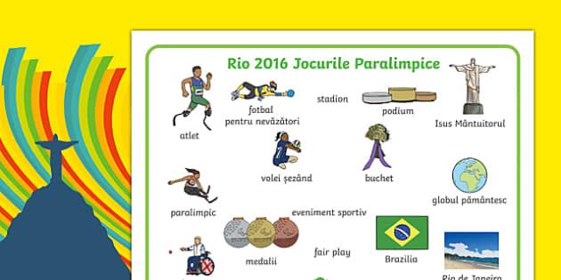 Rio Paralympics 2016 Word Mat Romanian-Romanian
