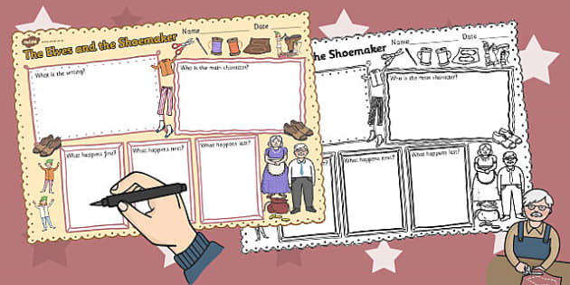 The Elves and the Shoemaker Book Review Writing Frame - writing