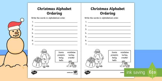 Christmas Alphabet Ordering Worksheet - festivities, letters