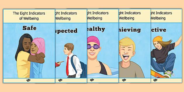 Shanarri Wellbeing Indicators Display Posters - wellbeing indicators, display posters, display, posters, Shanarri, scotland, health, safety, nurture, curriculum, excellence, cfe