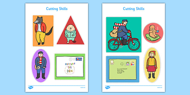 Cutting Skills Sheets to Support Teaching on the Jolly Christmas Postman - EYFS, Early Years, fine motor control, scissors, PD, Physical Development