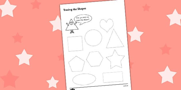 Shape Tracing Activity Sheet - 2D shape, trace, square, circle, triangle, heart, pentagon, hexagon, star, heart, shapes, tracing, fine motor skills, shape worksheets, tracing worksheets, worksheets, numeracy, maths, maths worksheets, shape