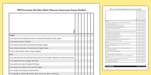 1999 Curriculum 6th Class Maths Measures Assessment Group Checklist - roi, gaeilge, ireland, republic of ireland