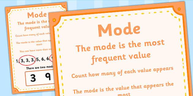 Mode Poster - mode, mode definition, mode display poster, numeracy mode poster, ks2 numeracy poster, mean mode median and range, definition of mode