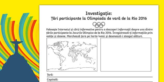 Investigație, Țări participante la Olimpiada de vară de la Rio 2016