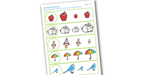 Size Matching Worksheets - size, sizes, matching, measure, maths
