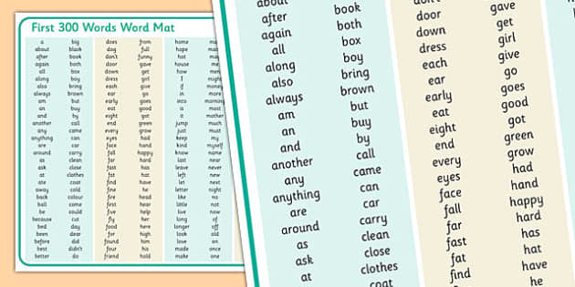 First 300 Words A3 Word Mat - first 300 words, a3, word mat