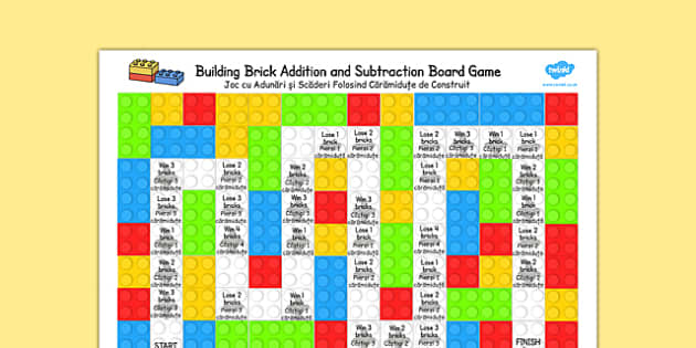 Building Brick Addition and Subtraction Board Game Romanian Translation - romanian, building brick, addition