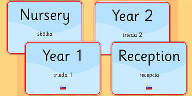 School Year Group Signs EAL Slovak Version - languages, EAL, sign
