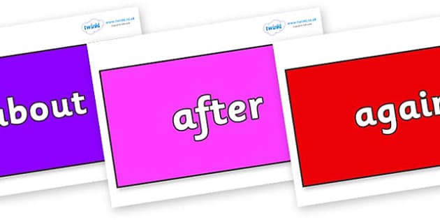 KS1 Keywords on Rectangles - KS1, CLL, Communication language and literacy, Display, Key words, high frequency words, foundation stage literacy, DfES Letters and Sounds, Letters and Sounds, spelling
