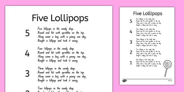 Five Lollipops Nursery Rhyme Sheet - nz, new zealand, five lollipops, nursery rhyme, sheet