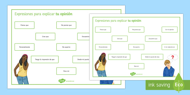 Opinion Phrases Word Mat Spanish