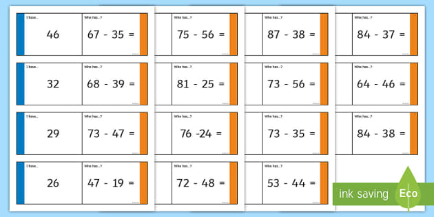 Subtraction Two Digits Loop Cards - Addition and Subtraction, year 3, take, take-away, less, minus, subtract, leaves,  how many more, ho