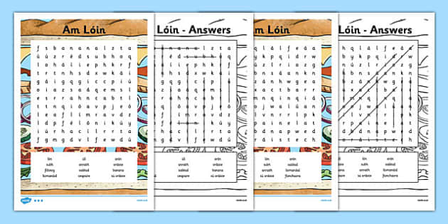 Irish Gaeilge Am Lóin Word Search - irish, gaeilge, am loin, word search, activity