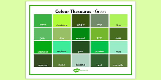 Colour Thesaurus Word Mat Green - colour thesaurus, colour, thesaurus, word mat, word, mat, green