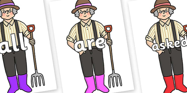 Tricky Words on Enormous Turnip Farmer - Tricky words, DfES Letters and Sounds, Letters and sounds, display, words