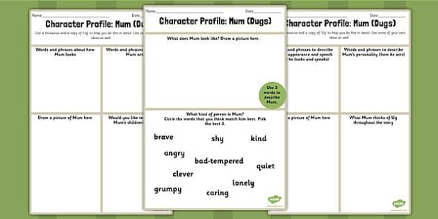 Character Profile Mum Dugs Worksheet to Support Teaching on Ug - ug, mum, worksheet