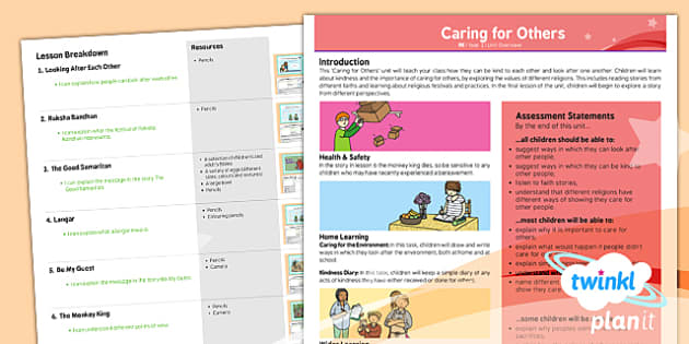 PlanIt - RE Year 1 - Caring for Others Planning Overview - planit, re, religious education, caring for others, planning overview