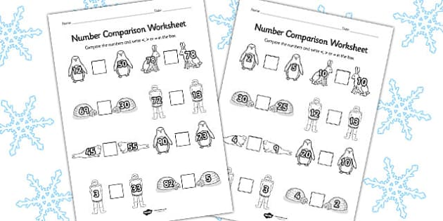 Polar Regions Number Comparison Worksheet - polar, worksheet