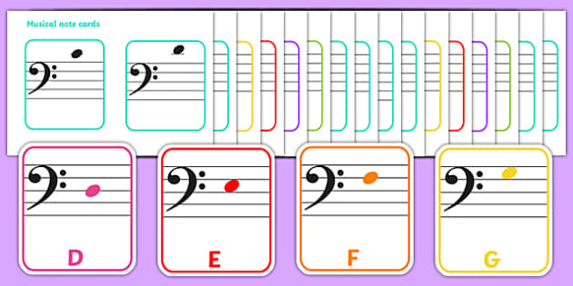 Bass Clef Musical Note Cards - musical, note, cards, bass clef