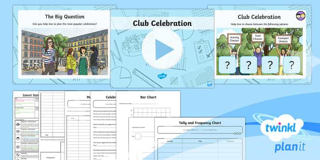 PlanIt Y3 Statistics SolveIt Lesson Pack Club Celebration - statistics, data handling, bar chart, tally chart, graph
