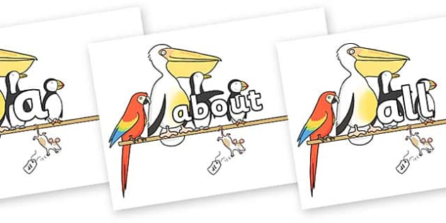 100 High Frequency Words on Pets on a Perch to Support Teaching on The Great Pet Sale - High frequency words, hfw, DfES Letters and Sounds, Letters and Sounds, display words