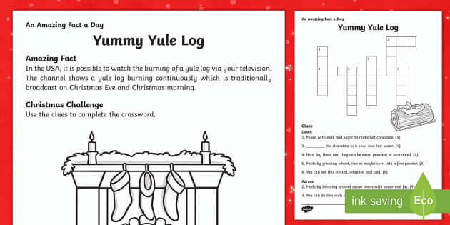 Yummy Yule Log Activity Sheet - Amazing Fact Of The Day, activity sheets, PowerPoint, starter, morning activity, December, Christmas