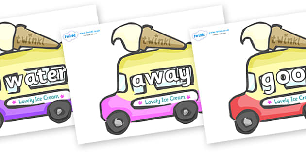 Next 200 Common Words on Ice Cream Vans - Next 200 Common Words on  - DfES Letters and Sounds, Letters and Sounds, Letters and sounds words, Common words, 200 common words