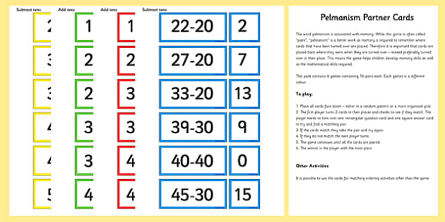 Add and Subtract Tens Partner Cards Game Pack - add, subtract, partner, cards, game, pack