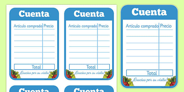Restaurant Role Play Receipt Spanish - spanish, food, roleplay, props, eating
