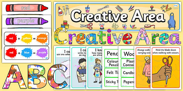 EYFS Creative Area Classroom Set Up Pack - eyfs, creative, area