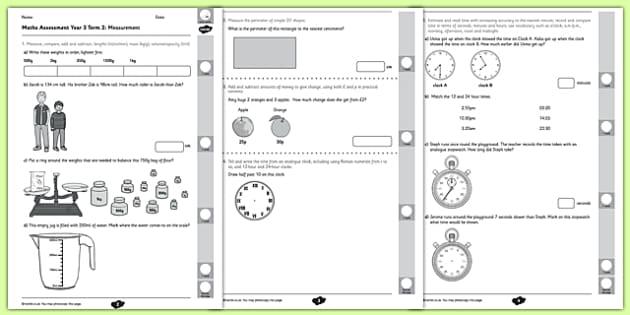 Year 3 Maths Assessment: Measurement Term 2 - year 3, maths, assessment