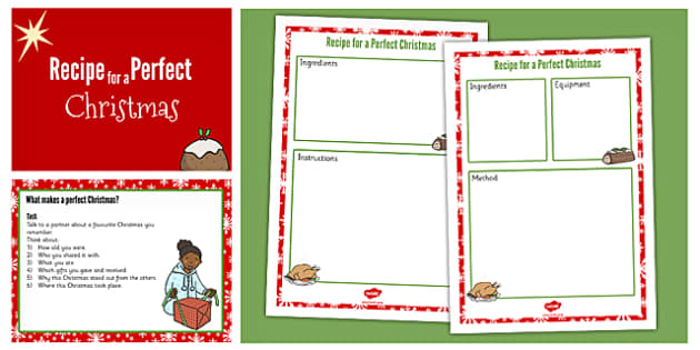 Recipe for a Perfect Christmas PowerPoint - recipe, christmas