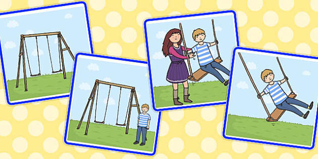 Sequencing Cards on the Swings - sequencing, cards, swings, on