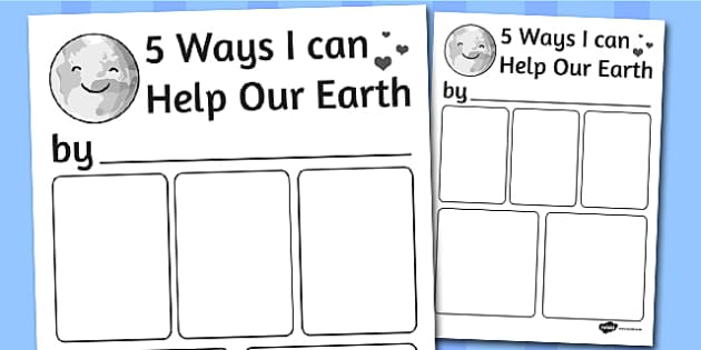 Five Ways I Can Help the Earth Writing Frame - writing frame