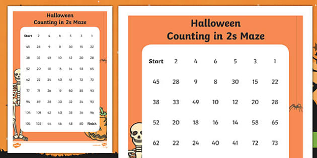 Halloween Themed Counting in 2s Maze Activity Sheet, worksheet